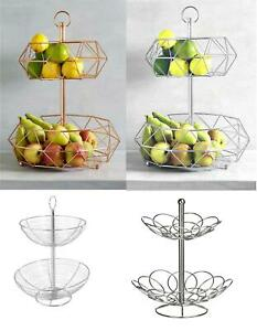 2 Tier Fruit Basket With Handle Holder Rack Vegetable Bowl Storage Stand Dining