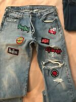 Vintage Distressed With Classic Rock Patches  Levis 501XX Jeans Button Fly 34x34