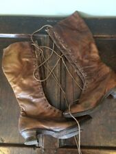Antique Victorian Brown Leather Ladies Lace Up Boots Shoes, PICOTEE - c1890