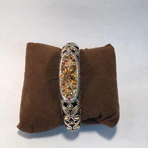 John Hardy Cuff Bracelet , Citrine Stones. Sterling&18k Gold.