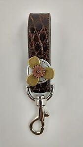 Genuine Brown Alligator skin  Key ring holder Key Fob purse zipper pull charm