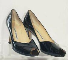 Manolo Blahnik Black Patent Leather Heels Open Toe Cross Size 36.5 6/6.5