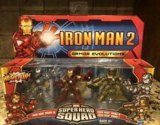 RETIRED Marvel Super Hero Squad Iron Man 2 Armor Evolutions MARK I II III 3-Pack