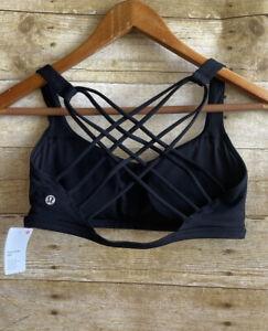NWT Lululemon Free To Be Wild Women's Bra Black Size 8 Gym Yoga Strappy