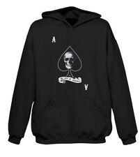 Ace Of Spades Skull Pouch Pocket Hoodie - Goth Biker Emo