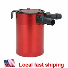 Universal Baffled 2-Port Oil Catch Can Tank  Compact Auto Air-Oil Separator Red