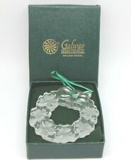 Galway Irish Crystal St. Patrick's Shamrock Wreath Christmas Ornament New in Box