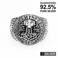 925 Sterling Silver Men's THOR Hammer with Celtic Runes Ring ✔️Oxidised✔️Solid