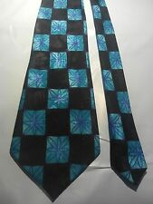 Hardy Amies Men's Vintage Tie in Black and Aqua-marine with a Geometric Pattern