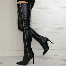 Womens Sexy Full Zip Thigh High Over Knee Boots Pointed Toe Heel Stilettos Shoes