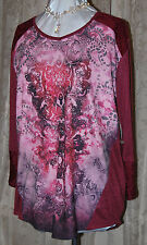 ONE WORLD MICRO JERSEY KNIT SO PRETTY HI LO LACE STUDS PINK WINE BLOUSE 1X NEW
