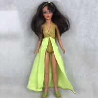 """Vintage 1974 Ideal Tiffany Taylor 18"""" Doll Brunette Blonde Golden Yellow Gown"""