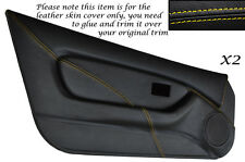 YELLOW STITCH 2X FULL DOOR CARD TRIM LEATHER SKIN COVERS FITS MG MGF MK1 95-99