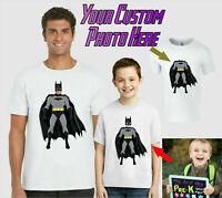 Personalised Batman T-Shirt, Add Face DC Comics Birthday Gift Kids Adults Top