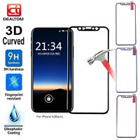 9H Metal Frame Full Cover Tempered Glass Screen Protector Film Skin for iPhone X