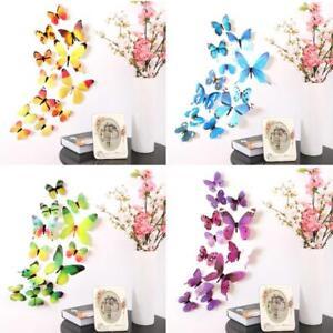 3D Wandaufkleber Schmetterlinge PVC 12 Stück, verschiedene Farben