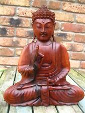 WOODEN BUDDHA STATUE Figure MEDITATING Thai PRAYING SITTING FAIRTRADE 30 cm B
