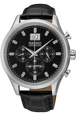 SEIKO SPC083P2,Men's Chronograph,STAINLESS STEEL CASE,leather,big date,SPC083P2