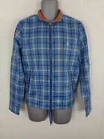 MENS PENGUIN BLUE/GREEN CHECKED ZIP UP LIGHTWEIGHT CASUAL COAT JACKET UK S SMALL