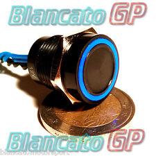 PULSANTE PIEZOELETTRICO 16mm NERO LED BLU 12V auto piezo switch interruttore kfz