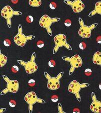 Pokemon Pikachu & Balls 100% Cotton Fabric Fat Quarter FQ 1/4 Yard Fast Shipping
