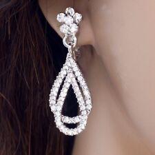 #E132A Bridal Comfy 3.8cm CLIP ON screwback EARRINGS Flower Teardrop Crystal NEW