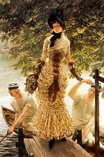TISSOT Art Print c19th Victorian Lady Elegant Dress Sailor Boating on The Thames