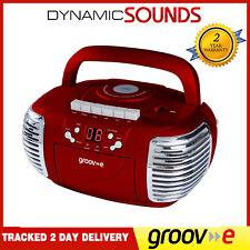 Groov-e gvps813 retrò rosso lettore CD AM / RADIO FM Cassetta Boombox INGRESSO