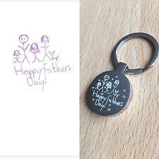 Personalised Engraved  Kids Drawing High Quality Circle Keyring - Keepsakes