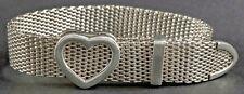 Tiffany & Co. Sterling Silver Open Heart Mesh Buckle Bracelet W/ Pouch