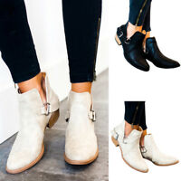 New Women's Fashion Block Heels Ankle Boots Slit Buckle Ladies Casual Shoes Size
