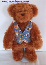 NEW LINDON JOINTED TEDDY BEAR - PATTERN WAISTCOAT-STAND - PRICE £36 ON OFFER £21