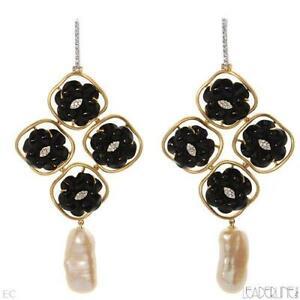 Leaderline Italy Earrings 18K 2 Tone Gold 0.50 ctw Diamonds Onyxes & Pearl. New