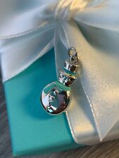 Authentic Tiffany & Co. Snowman Charm Sterling Silver .925 with Blue Enamel