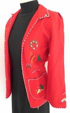 ✰ VINTAGE 1950's MEXICAN Tourist EMBROIDERED Wool FELT Coat JACKET Mexico S