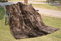 "New LUXURY Genuine KING Blanket Real Sheared Beaver Fur Throw Spread rug 84""X75"""
