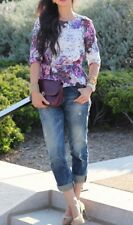 H&M Lana Del Ray Womens Watercolor Floral Print 3/4 Sleeve Peplum Top Size 2