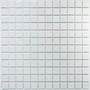 Mosaïque auto-adhésif cristal verre blanc pâle cuisine 200-4CM20_f | 10 plaques
