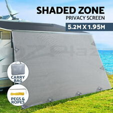 Caravan Privacy Screens Roll Out Awning 5.2x1.95M End Wall Side Sun Shade Screen