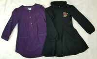 Lot of 2 Old Navy-Gymboree Dresses Girls Size 5T  Purple Corduroy/Leopard Kitty