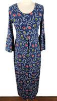 Seasalt Size 10 Blue Floral Dress Green Red 3/4 Sleeve Bamboo Blend Long Winter