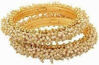 Indian Bollywood Traditional Jewelry Gold Tone Pearls Women's Bangle Bracelets