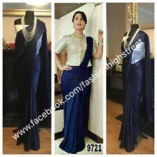 Indian Tv Actress Hina Khan Designer Navy Blue & Silver Party Sari saree
