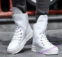 Fashion Sneakere Mens Shoes Pu Leather High Top Side Zip Trainers Hip Hop Casual