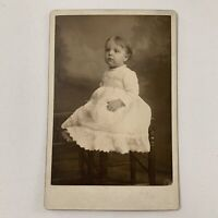 Antique Cabinet Card Photo Adorable Sweet Little Baby Girl Belleville IL