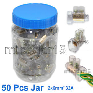 50 x DOUBLE Screw Connectors in Jar 32A 2x6mm² - Cable Wire Joiner BP Terminals