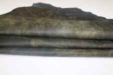 Italian lambskin Lamb leather skins 2 tones YELLOW BLACK ANTIQUED 11sqf #A2729