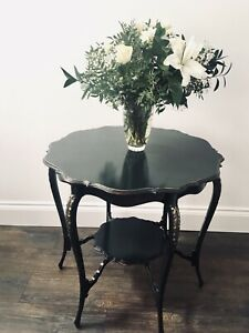 Vintage hallway table painted dark green Farrow and Ball, distressed and gilded