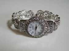 Silver Finish Vintage Style Marcasite Look Women's Bangle Fashion Wrist Watch