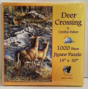 NOS New Sealed SunsOut Deer Crossing Puzzle 1000 pcs Cynthie Fisher Factory USA